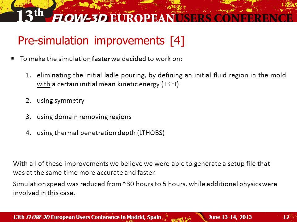 Pre-simulation improvements [4]